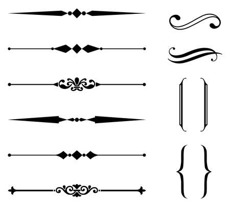 Ilustración de Rule Line and Ornament Set - Set of rule line and ornament design elements.  Each element is grouped separately for easy editing. - Imagen libre de derechos