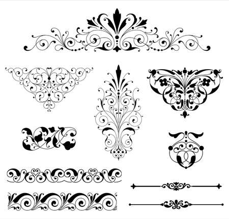 Illustrazione per Ornament Set - Set of black vector ornaments - scrolls, repeating borders, rule lines and corner elements. - Immagini Royalty Free