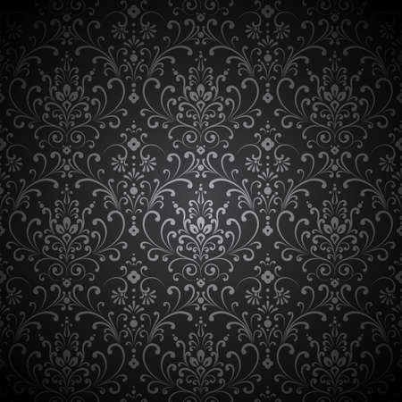 Illustration pour Damask Vignette - Seamless damask pattern with vignette.  Pattern swatch is included in swatches panel. - image libre de droit
