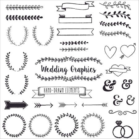 Illustration for Hand Drawn Clip Wedding Art  - Hand drawn clip art set. Each element is grouped for easy editing. - Royalty Free Image