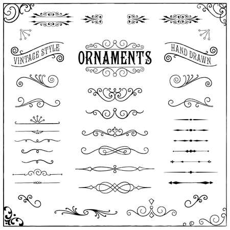 Illustration pour Vintage Ornaments - Collection of hand drawn vintage ornaments - image libre de droit