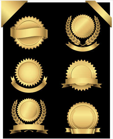 Illustration for Gold Seals and Corners  Set of 6 different gold seals with banners and wreaths and 2 gold corner banners.  - Royalty Free Image