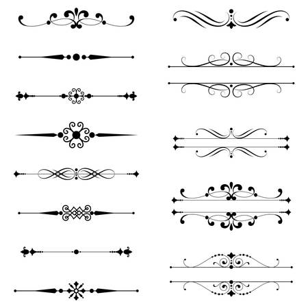 Illustrazione per Typographic Ornaments  Rule Lines  Set of text dividers. - Immagini Royalty Free