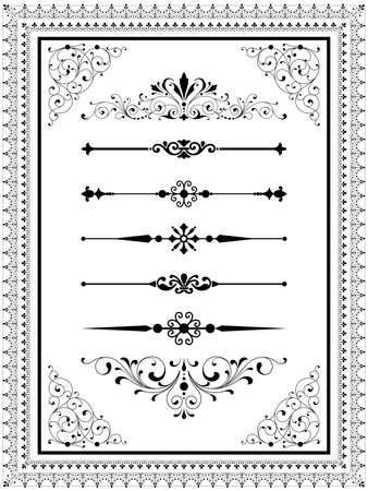 Illustrazione per Ornament Set  Set of vector ornaments  scrolls repeating borders rule lines and corner elements.  Repeating border brushes are included in brushes window. - Immagini Royalty Free