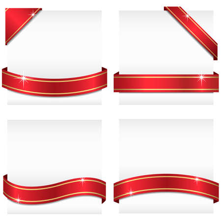 Illustration pour Glossy Ribbon Banners  Set of 4 red ribbon banners with gold stripes wrapping around white copy space and 2 corner banners.  Ribbons can be adjusted easily to fit any format.   Colors are global swatches. - image libre de droit