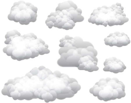 Ilustración de Vector Clouds  Clouds can be used on any color background. - Imagen libre de derechos