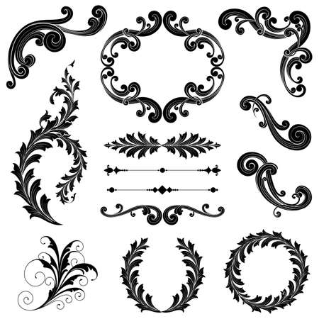 Illustration for Floral Ornament Set - Ornamental scrolls, text dividers, frames and wreaths.  Each element is grouped for easy editing. - Royalty Free Image