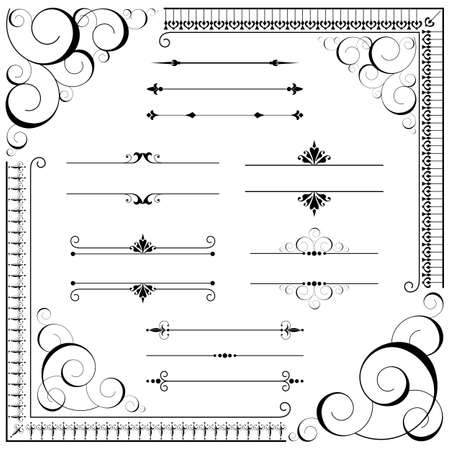 Illustration pour Vintage Ornament set - Set of ornaments - scrolls, corners, text dividers and repeating borders.  Each element is grouped individually.  Repeating border brushes are included in brushes window. - image libre de droit