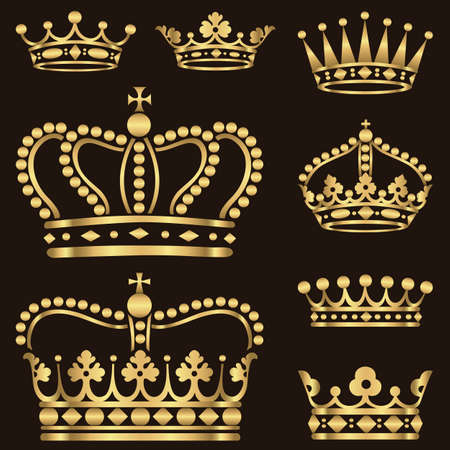 Photo for Gold Crown Set - Set of ornate gold crowns.  Colors in gradients are just a few global swatches, so file can be recolored easily.  Each crown is grouped individually for easy editing. - Royalty Free Image