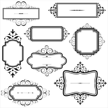 Illustration pour Vintage Frames with Scrolls - Set of Vintage frames with scroll elements.  Each element is grouped individually. - image libre de droit