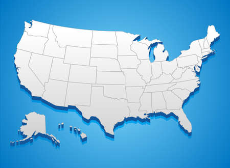 Illustration pour United States of America Map - 3D illustration of United States map.  - image libre de droit