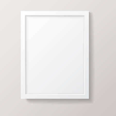 Illustration pour Realistic Empty White Picture Frame - Realistic empty white picture frame, isolated on a neutral gray background. - image libre de droit