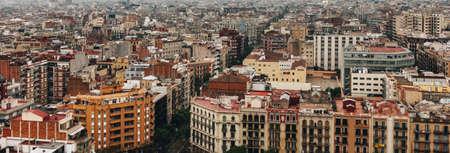 Foto de Panoramic aerial view of Barcelona from the top of Sagrada Familia - Imagen libre de derechos
