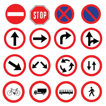 Illustration pour different highly detailed and fully editable vector Traffic-Road Sign Collection. ready to use - image libre de droit