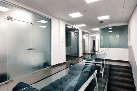 Photo for Bright large modern office interior with glass doors - Royalty Free Image