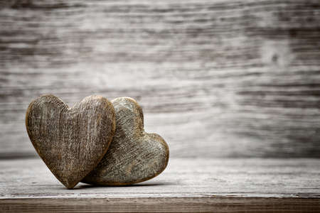 Photo for Heart on a wooden background. Vintage style. - Royalty Free Image