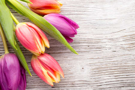 Tulips on a wooden surface.