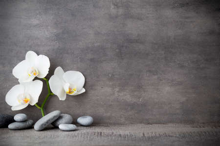 Foto de Spa stones and white orchid on the grey background. - Imagen libre de derechos