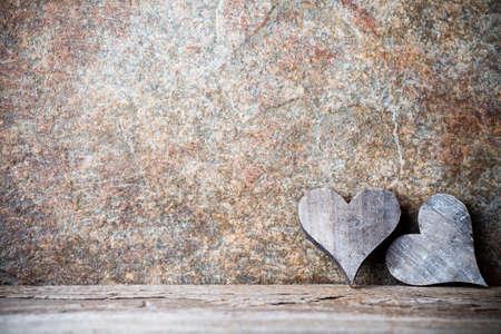 Foto de Wooden hearts rustic style. Greeting card. - Imagen libre de derechos