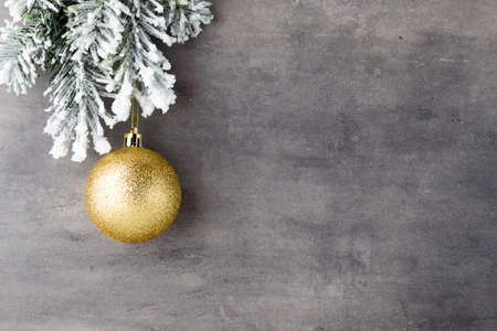 Photo pour Fir tree covered with snow on gray board. - image libre de droit