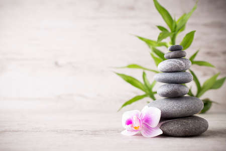 Photo for Spa stones on the grey background. - Royalty Free Image