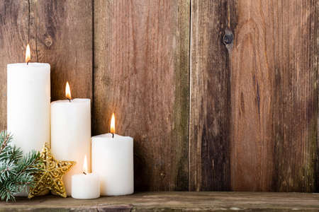 Photo for Christmas candles and lights. Christmas background. - Royalty Free Image