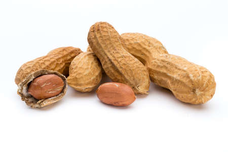 Photo pour Dried peanuts on the white background. - image libre de droit