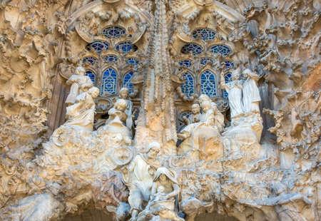 Foto de Spain, Barcelona, the sculptures of the facade of La Sagrada Familia Cathedral - Imagen libre de derechos