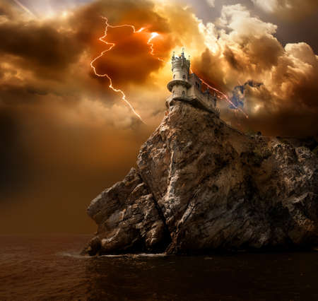 Photo for Swallow's Nest Castle on the rock in the Black sea - Royalty Free Image