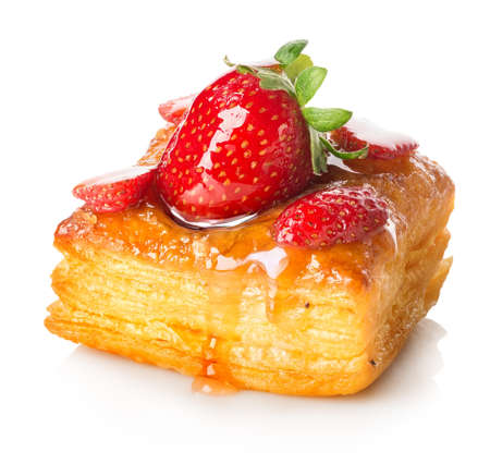 Photo for Cake of puff pastry with strawberry isolated on white - Royalty Free Image