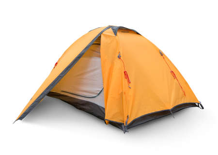 Foto de Yellow tourist tent isolated on a white backgrouynd - Imagen libre de derechos