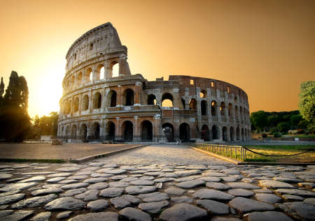 Photo for Colosseum and yellow sky - Royalty Free Image