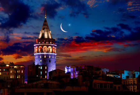 Photo pour Galata Tower at night - image libre de droit