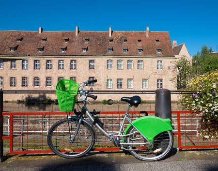 Photo pour Bicycle parked in Strasbourg - image libre de droit
