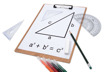 Photo pour Pythagorean Theorem. Clipboard triangle protractor pencil isolated on the white background. - image libre de droit