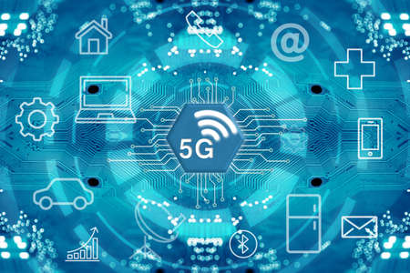 Foto de 5G network wireless systems and internet of things with abstract connected dots wireless communication network on circuit diagram background. - Imagen libre de derechos