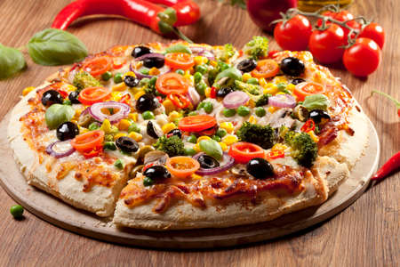 Photo for Pizza vegetarian on plate - Royalty Free Image