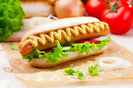 Photo for Hot dogs with mustard, ketchup on a picnic table - Royalty Free Image