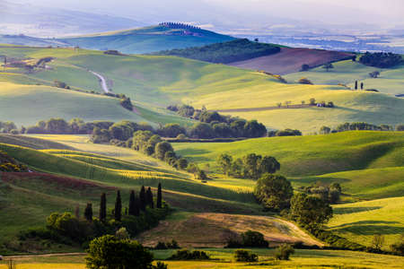 Foto de Beautiful and miraculous colors of green spring landscape of Tuscany, Italy. - Imagen libre de derechos