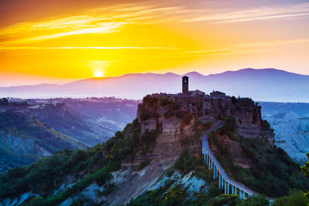 Photo for Civita di Bagnoregio, old town on sunrice. Tuscany, Italy - Royalty Free Image