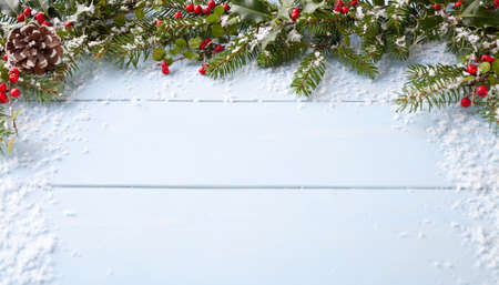 Photo for winter background - blue woodboard - Royalty Free Image