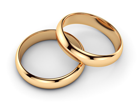 Photo for Pair of golden rings - isolated on white background  - Royalty Free Image