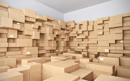 Photo pour Warehouse with many cardboard boxes - 3d illustration - image libre de droit