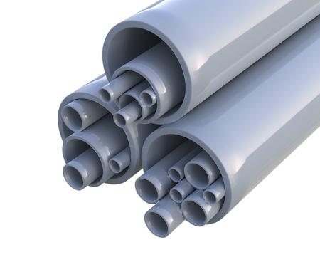 Photo pour Plastic pipes - isolated on white background  - image libre de droit