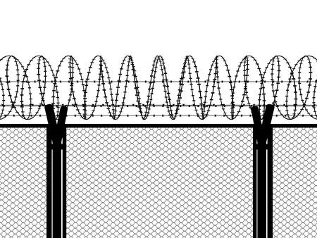 Photo pour Fence with a barbed wire - image libre de droit