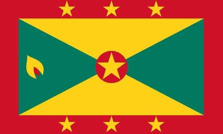 Illustration pour Flag of Grenada in national colors, vector illustration. - image libre de droit