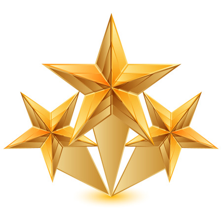 Illustration for Vector illustration of 3 gold stars - Royalty Free Image