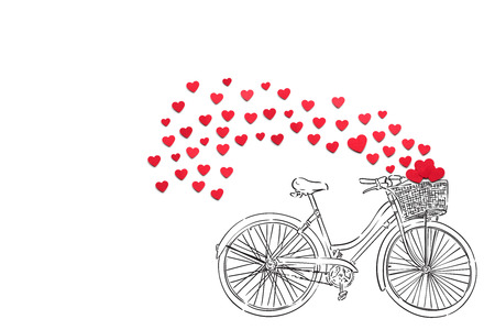 Photo for Creative valentines concept photo of hearts and illustrated bicycle on white background. - Royalty Free Image
