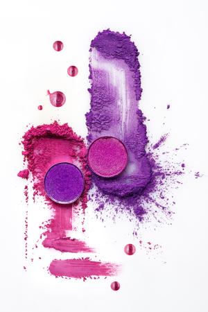 Foto de Creative concept photo of cosmetics swatches on white background. - Imagen libre de derechos
