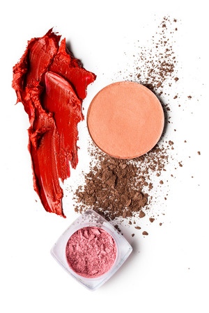 Photo pour Creative concept photo of cosmetics swatches on white background. - image libre de droit